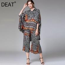 Suit Top Elastic-Pant Batwing-Sleeve Wide-Leg Leopard-Print Large-Size Casual Summer