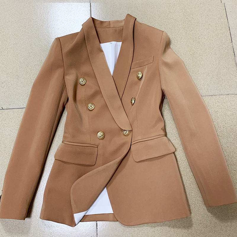 EXCELLENT QUALITY 2020 Newest Fashion Designer Women Blazer Double Breasted Lion Buttons Shawl Collar Blazer Jacket