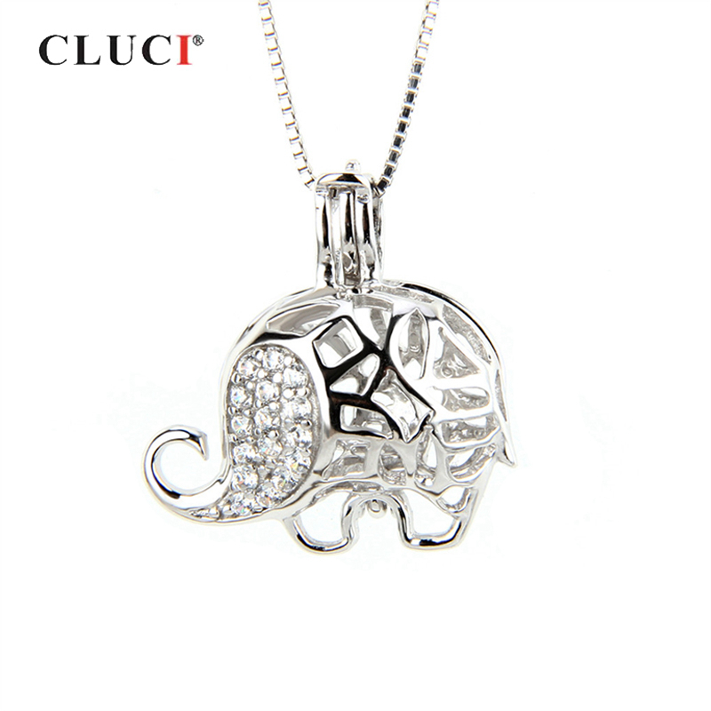 CLUCI Silver Cute Elephant Cage Pendant 925 Sterling Silver Charms Pendants For Women Zircon Women Jewelry Pearl Locket