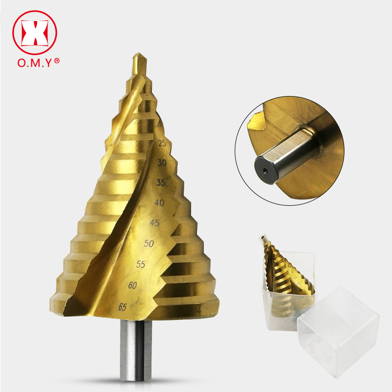 6-65mm The Pagoda Shape HSS Triangle Shank Spiral Metal Steel Step Drill Bit Hole Cone