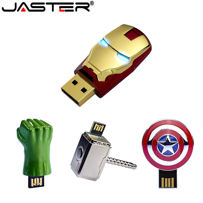 JASTER Fashion Avengers Iron Man LED USB Flash Drive Memory Stick Pendrive 4GB 16GB 32GB 64GB Metal Pen Drive Creative USB Stick
