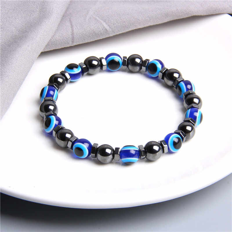 אופנה עיצוב כחול עין רעה צמידי נשים תכשיטי מכירה לוהטת יפה מלוטש עגול המטיט חרוזים צמיד גברים צמיד