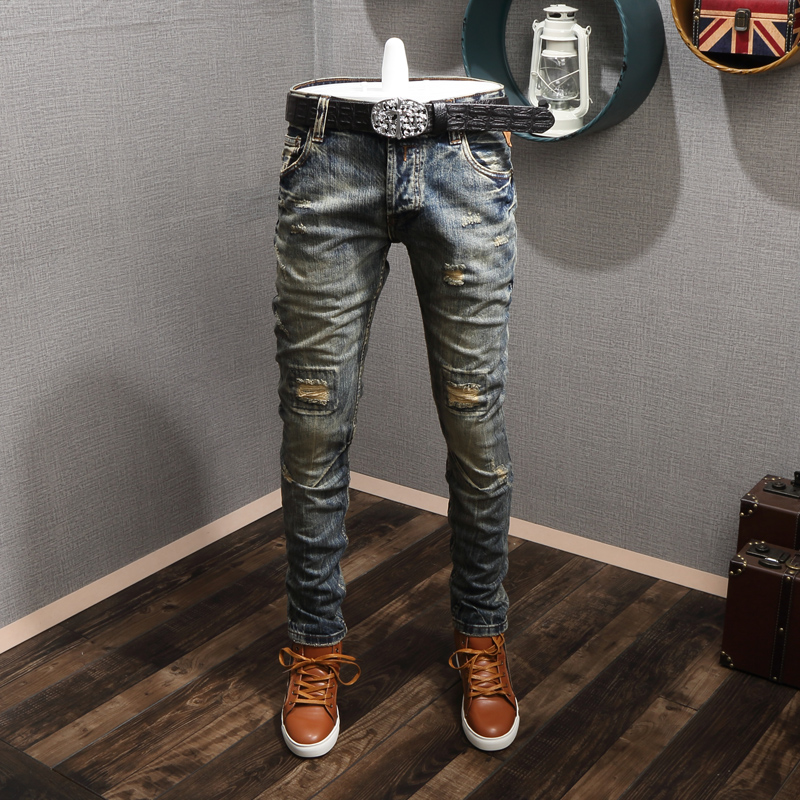 Italian Style Fashion Men Jeans Retro Wash Destroyed Ripped Jeans Men Spliced Baggy Pants Vintage Designer Jeans Hip Hop Pants