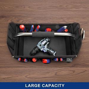 """Image 5 - WORKPRO 16"""" 600D Foldable Tool Bag Shoulder Bag Handbag Tool Organizer Storage Bag"""