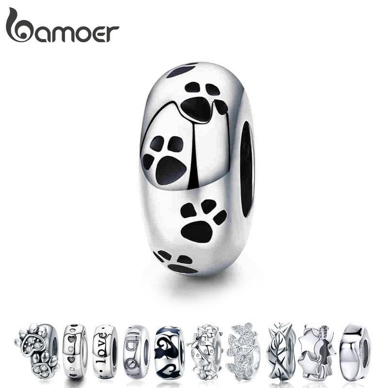 BAMOER Authentic 925-sterling-silver Dog Animal Footprint Cat Heart LOVE Spacer Charm Fit Bracelet DIY Original SCC594