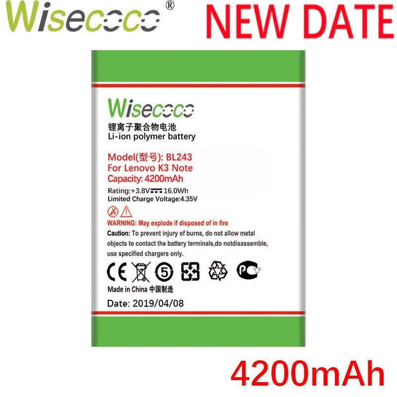 Wisecoco BL243 4200mAh Neue Batterie Für Lenovo K3 Hinweis K50-T5 K50-T3S A7000 A5500 A5860 A5600 A7600 batterie Ersatz