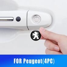 4PC 20mm cerradura del coche cerradura decoración pegatinas de protección para Peugeot 4008, 308, 408, 5008, 508, 301, 3008, 2008, 107, 208 pegatinas de coche