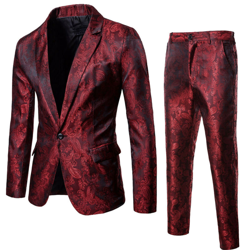 Mens Formal Blazer Jacquard Suit Jacket Tux Coat Business Trousers Wedding Dress