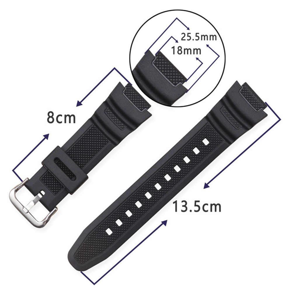 สีสันสายนาฬิกา 18 มม.สำหรับ Casio AQ-S800W AE-1000W AEQ-110W ผู้ชายผู้หญิงกีฬากันน้ำ PU สร้อยข้อมือนาฬิกา