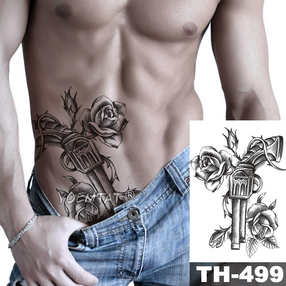 Modląc się pik Arm tymczasowa naklejka tatuaż pistolet kwiat róży wodoodporny tatuaż maryi panny Body Art fałszywy tatuaż mężczyźni kobiety