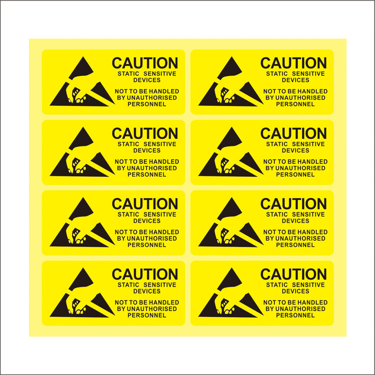 100Pcs/set CAUTION Warning Sticker Waterproof PVC Material Anti-static Seal Mark Sensitive Electronics Packing Labels