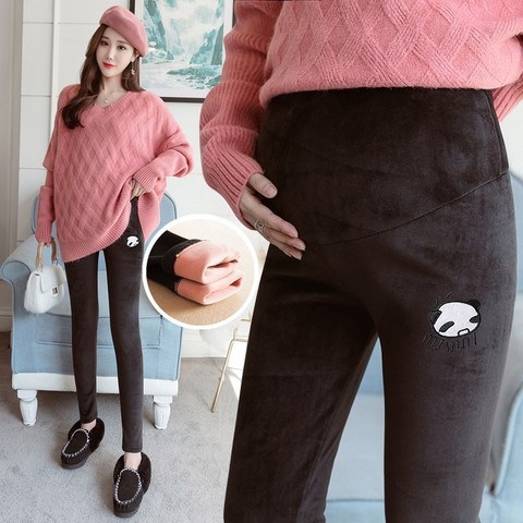 leggings de elevacao do estomago das mulheres gravidas mais veludo espessamento outono e inverno roupa