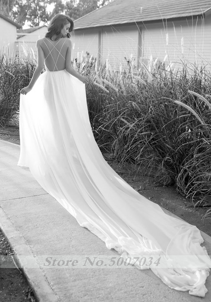2019 Sexy Bohemian Wedding Dress High Low Spaghetti Strap Bridal Gowns Backless Vestido De Noiva Lorie Wedding Gowns For Women in Wedding Dresses from Weddings Events