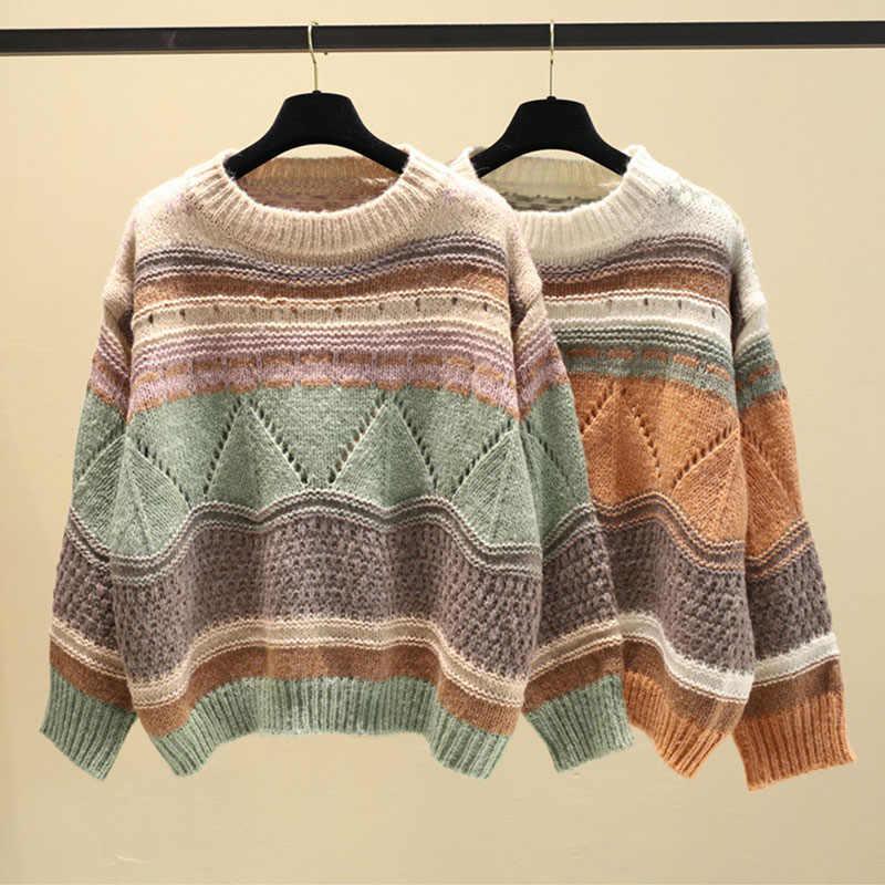여자의 느슨한 두꺼운 라인 중공 히트 컬러 스웨터 한국어 캐주얼 학생 스트라이프 자카드 스웨터 o-넥 풀오버 스웨터 ml210