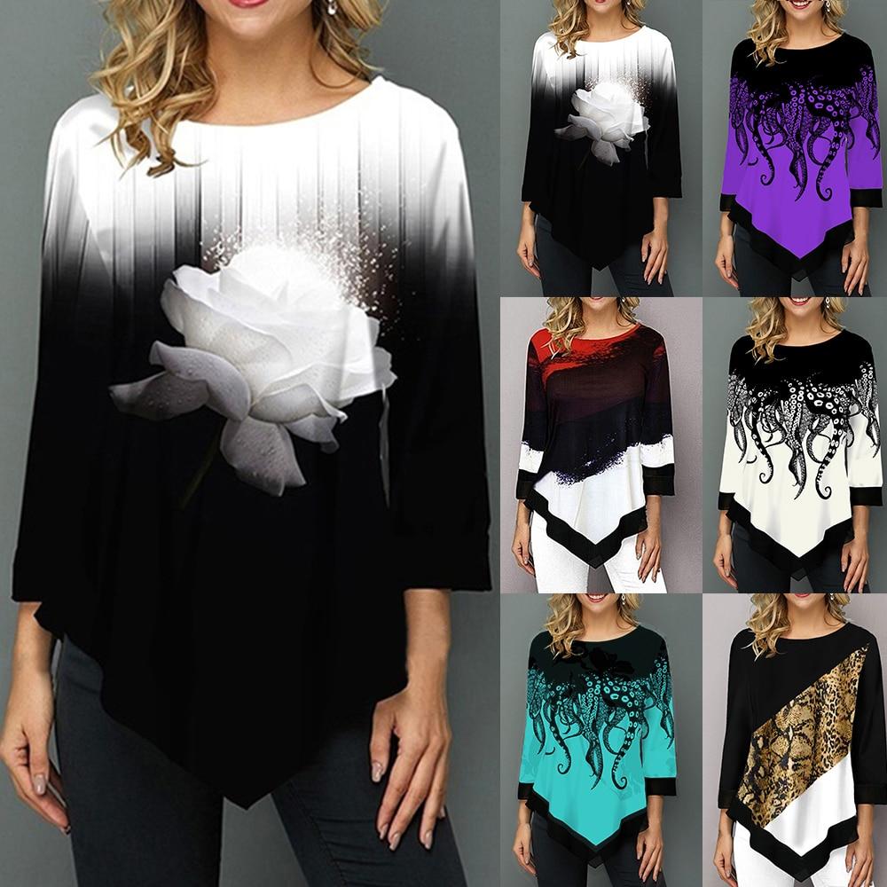 2019 Floral Printed Women Shirt Asymmetric Hem Autumn Blouse Shirt For Woman Flower Print Tops O Neck Casual Tops Female Camisa