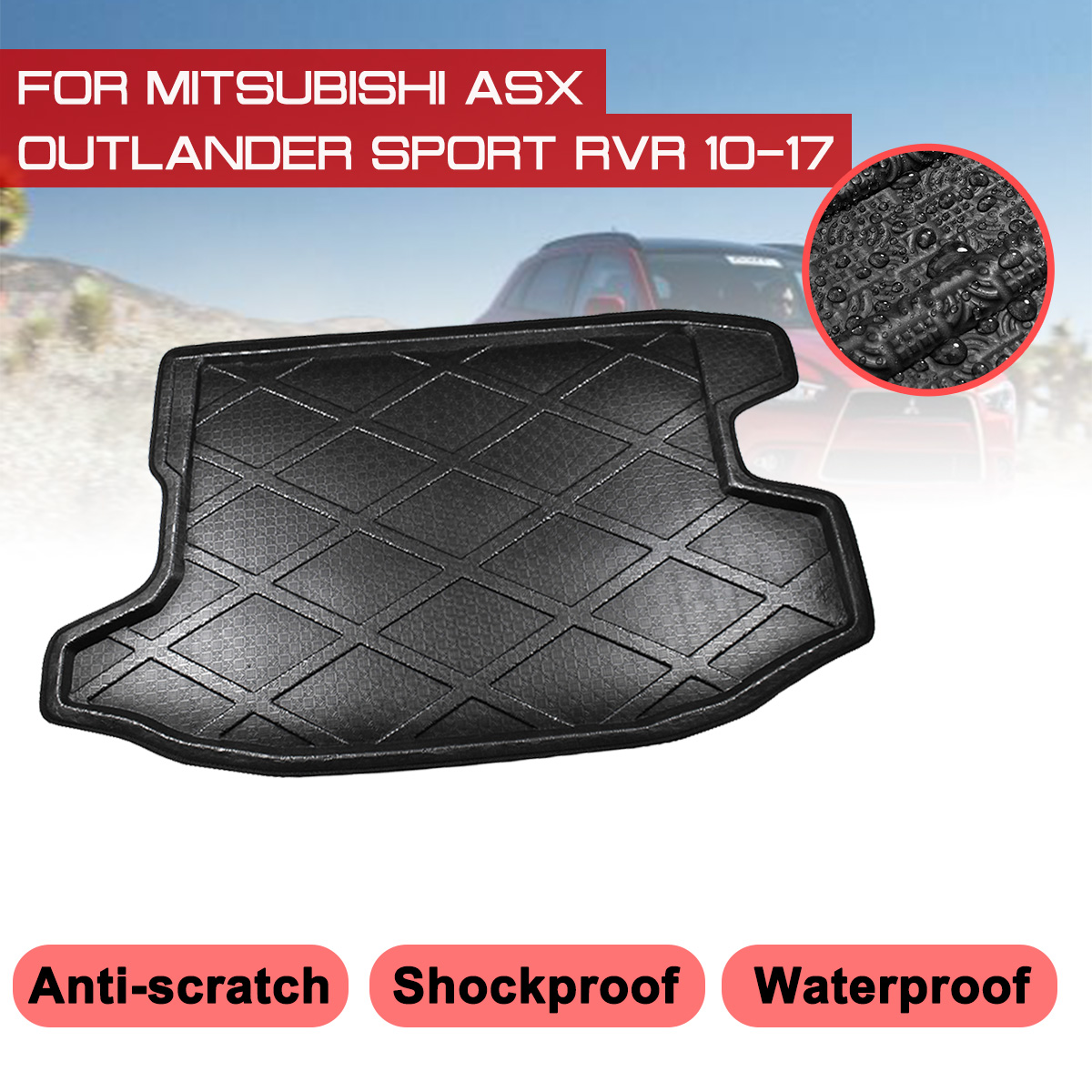 For Mitsubishi ASX  Outlander Sport RVR 2010 2017 Car Rear Trunk Boot Mat Waterproof Floor Mats Carpet Anti Mud Tray Cargo Liner|  -