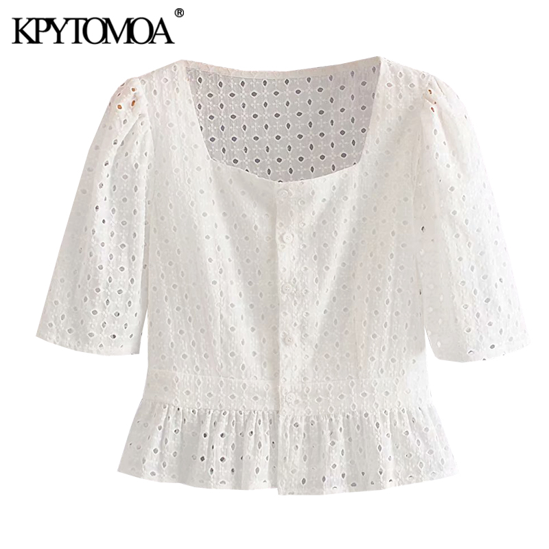 KPYTOMOA Women 2020 Sweet Fashion Embroidery Hollow Out Cropped Blouses Vintage Square Collar Ruffled Female Shirts Chic Tops