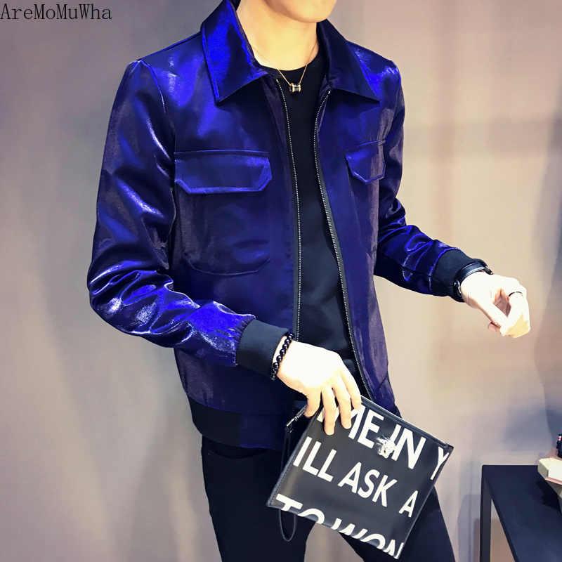 AreMoMuWha 光沢のある精神 Pu レザー男性のスリム韓国語バージョンハンサムオートバイのジャケットショートヘアスタイリスト秋コート