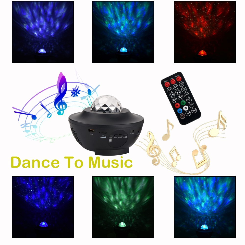 Music Star Projector LED Night Light Remote Control 4 Color Indoor Cosmos Star Luminaria  Projector For Kid Bedroom