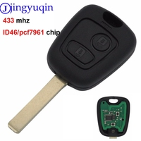 jingyuqin 2 Buttons 433MHZ With PCF7961 Chip Remote Car Key Control Keyless For Peugeot 307 Citroen C1 C3 VA2 Blade