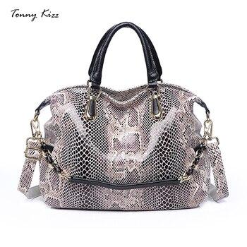 Tonny Kizz Luxury Handbags Women Bags Designer Genuine Leather Tote Bags Large Capacity Shoulder Bags Crossbody Serpentine 2020