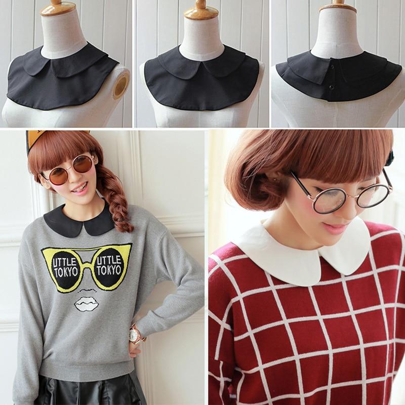Vintage White Black Detachable Lapel Shirt Fake Collar Women Clothes Accessories Round Cute Detachable Collars Cotton Neck Hot