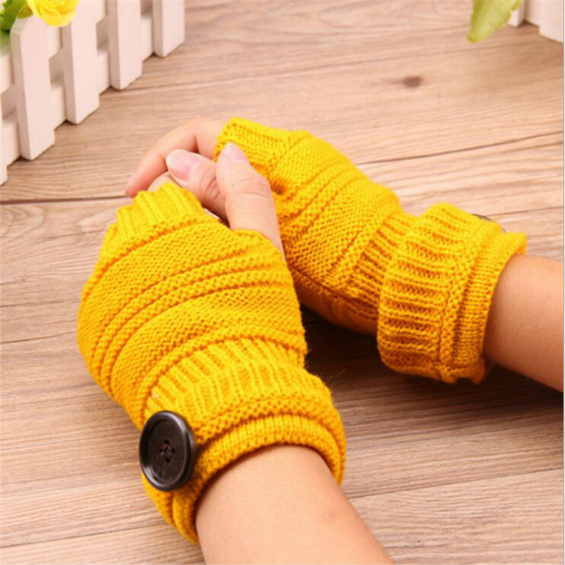 Coslony Women Winter Fingerless Gloves Knitted With Buttons Half Finger Glove Soft Warm Women Female Gloves Mittens Guantes
