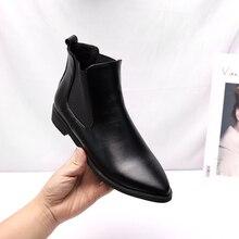 Moda zima Chelsea Boots kobiety kostki buty ze skóry ekologicznej szpiczasty nosek panie botki chaussures femme Bota Mujer duży rozmiar 35 43