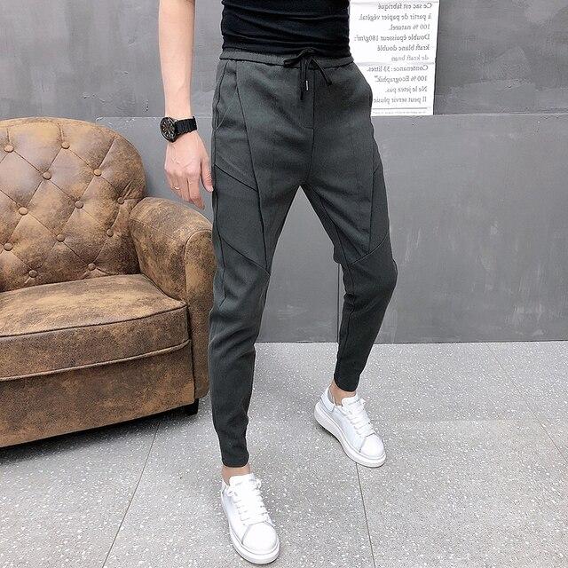 Fashion Korean Solid Joggers Men High Quality Autumn Winter Thick Pants Men Slim Fit Drawstring Mens Casual Pants Black/Gray 36 3