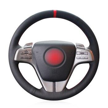 Red Marker Black Genuine Leather Anti-slip Car Steering Wheel Cover for Mazda 6 Atenza 2009 2010 2011 2012 2013