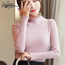 Sueter mujer invierno 2019 winter knit sweater women and Pullovers korean top solid Turtleneck pink sweater clothing 6373 90(China)