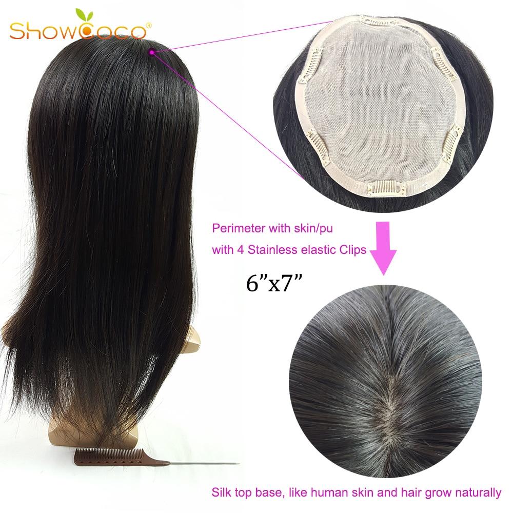 Topper Hair 130% Density Clip In Toupee Hair For Women Human Hair Toupee Virgin  Hair 6*7 Silk Base Natural Color Showcoco