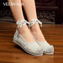 Veowalk Nose Toe Women Comfortable Canvas Flat Platforms Chinese Embroidered Ladies Casual Hanfu Old Beijing Shoes