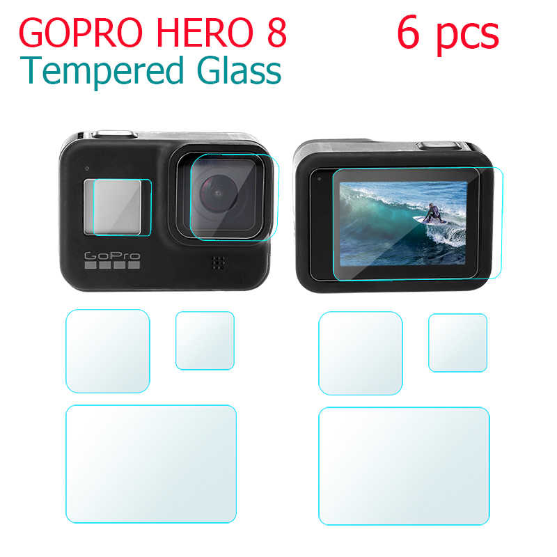 6Pcs Tempered Glass Screen Protector For Gopro Hero 8 black Sport Camera Screen Protector Film Tempered Glass Camera Accessories
