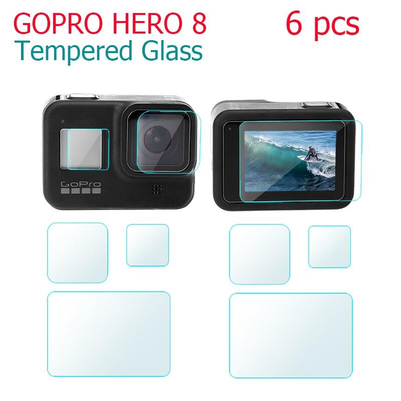 6 uds. Protector de pantalla de vidrio templado para Gopro Hero 8 black Sport Camera Protector de pantalla Film de vidrio templado accesorios de cámara