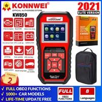 Ferramenta de diagnóstico automotivo konnwei kw850, obd2 completo, scanner de verificação do motor e sensor de o2, teste de bateria, leitor de código obdii pk cr3008