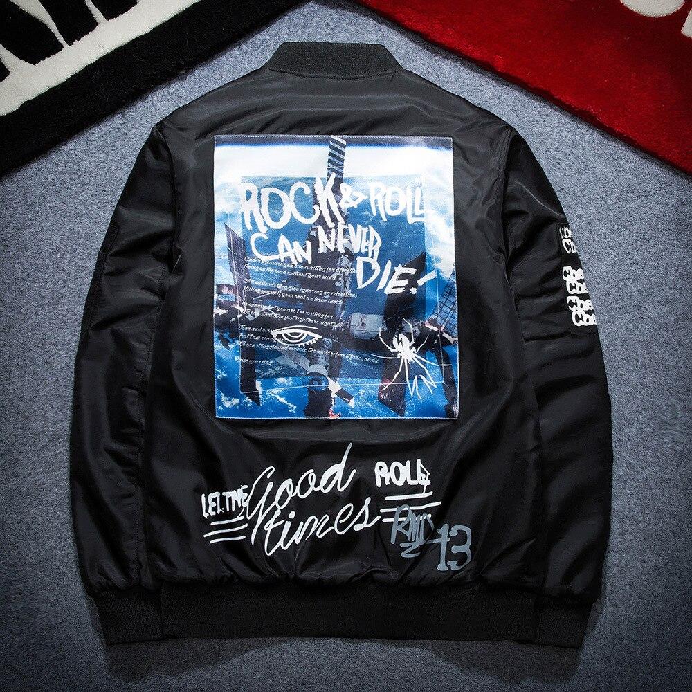Men Coat Bomb Baseball Jackets Men Print Letter Plus Size Stand Collar Bomber Jacket Fashion Casual Outwear