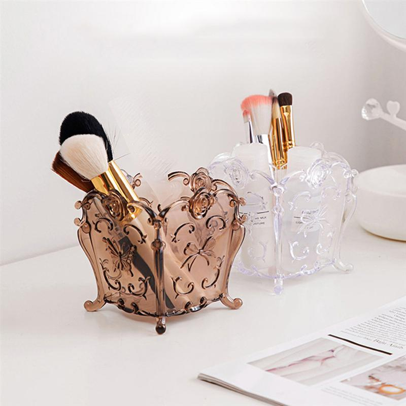 Makeup Brush Holder Storage Box Plastic Dressing Table Storage Container Make Up Tools For Women Gift Free Shipping