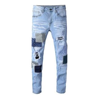 Fashion Streetwear Men Jeans Blue Color Patchwork Skinny Fit Elastic Ripped Jeans Men Punk Pants Destroyed Hip Hop Jeans Homme fashion streetwear men jeans white slim fit destroyed ripped jeans men patchwork elastic denim punk pants hip hop jeans homme