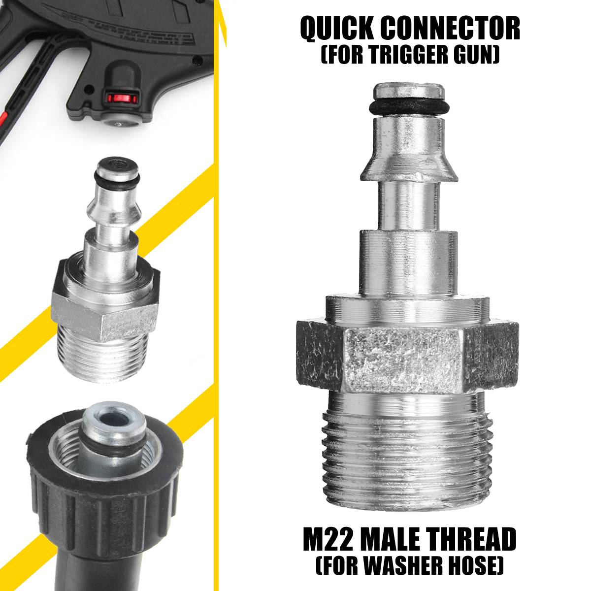 Pressure Washer Quick Connector M22 Spray Gun Wand Lance Bayonet Adapter M22 quick disconnect release fitting for Lavor VAX