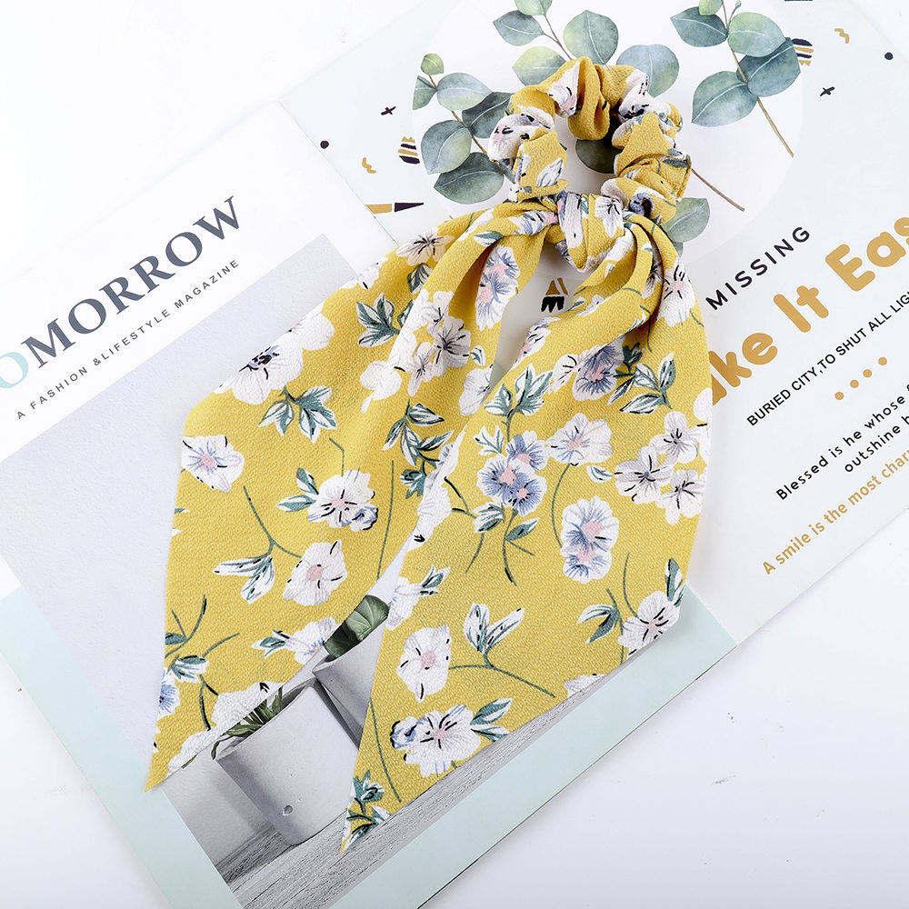 Levao fleur impression cheveux écharpe arc chouchous queue de cheval bandeau pour femmes cheveux accessoires nœud papillon élastique cheveux corde bandeaux 43