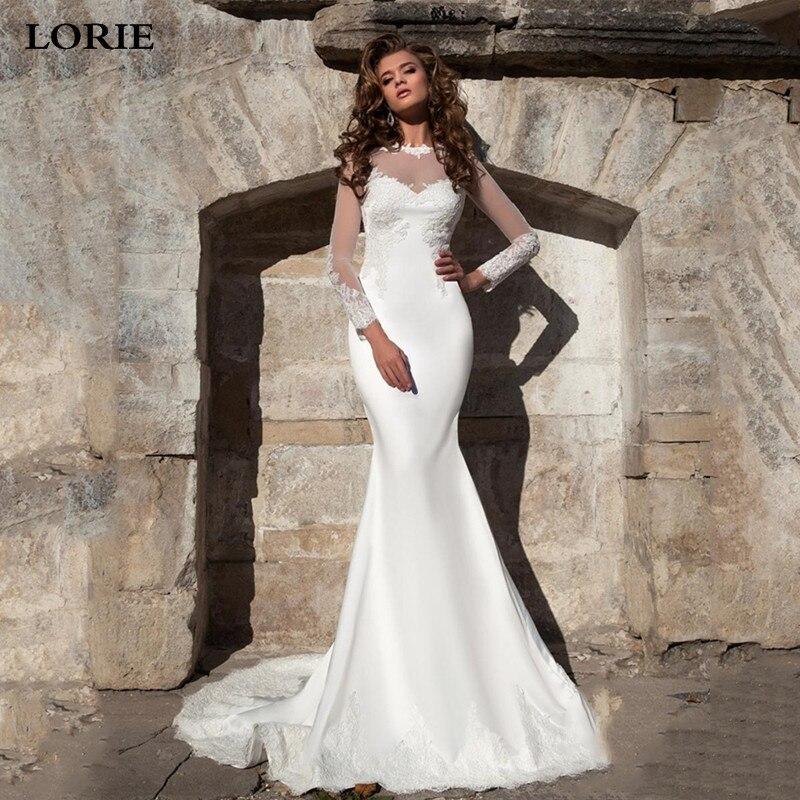 LORIE Satin Wedding Dress Long Sleeve Lace Mermaid Bride Dresses Vestido De Novia 2019 Wedding Gown Covered Back