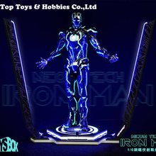 Toy-Box 1/6 Iron Man Legacy Platform Stand Model LED Light for 12 action figure doll iron man mk magnetic floating ver with led light iron man action figure collection toy retail box
