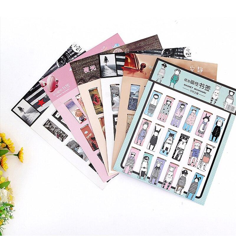 18pcs/set Love Heart Magnetic Bookmark Luminous Cute Cartoon Animals Daily Magnet Book Mark Children Gift Bookmarks For Books