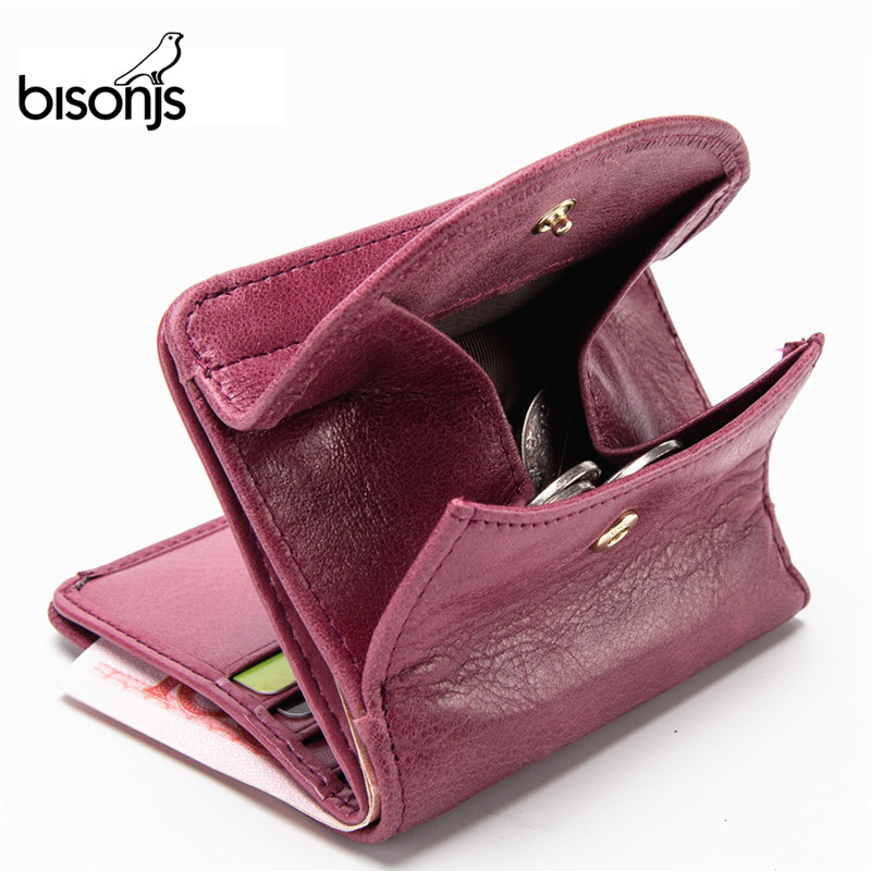 BISONJS Genuine Leather Women Purse Coin Wallet For Women 2019 Cowhide Female Card Holder Carteira Feminina Lady Purse B3274