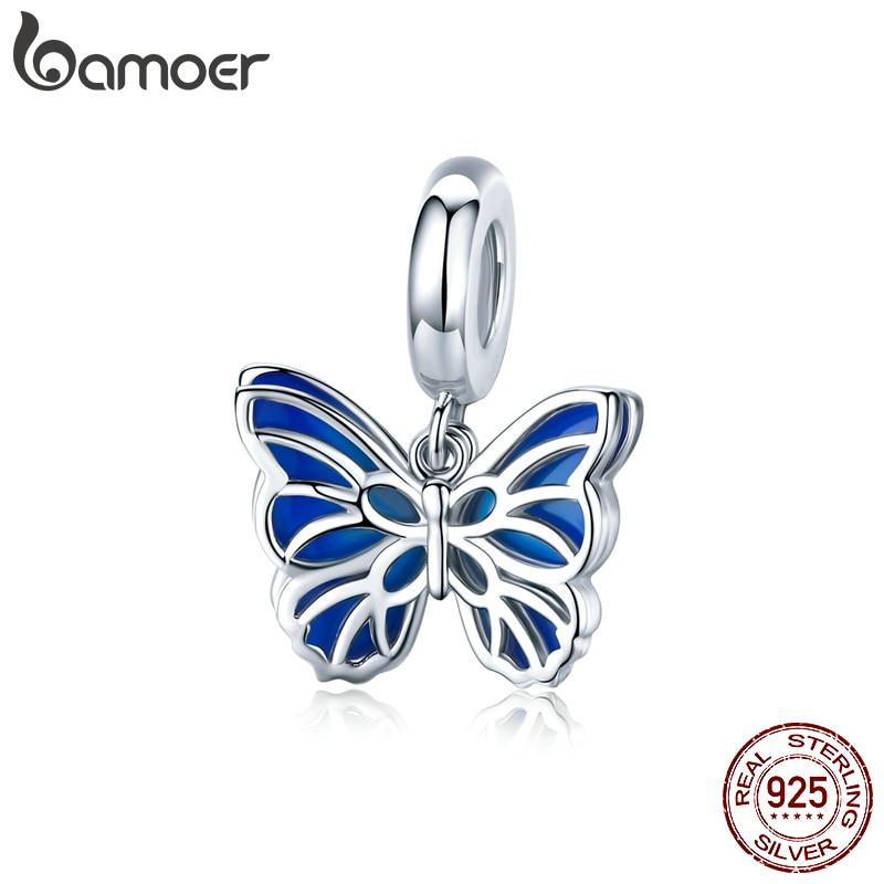 Bamoer 925 Sterling Silver Double Openwork Butterfly Pendant Charm For Bracelet Women Blue Enamel Fashion Jewelry Making BSC149