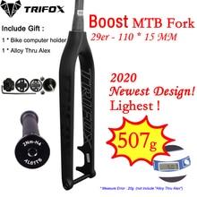 цена на TRIFOX Full Carbon MTB Fork Boost 110*15mm 29er mountain bike fork 29inch disc brake Tapered 1-1/8 to1-1/2 Thru Axle fork