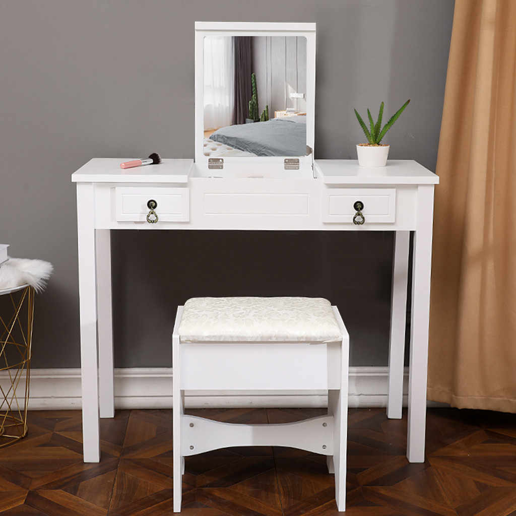 Dresser Table Mirror With Chair Set Vanity Table Makeup Stool