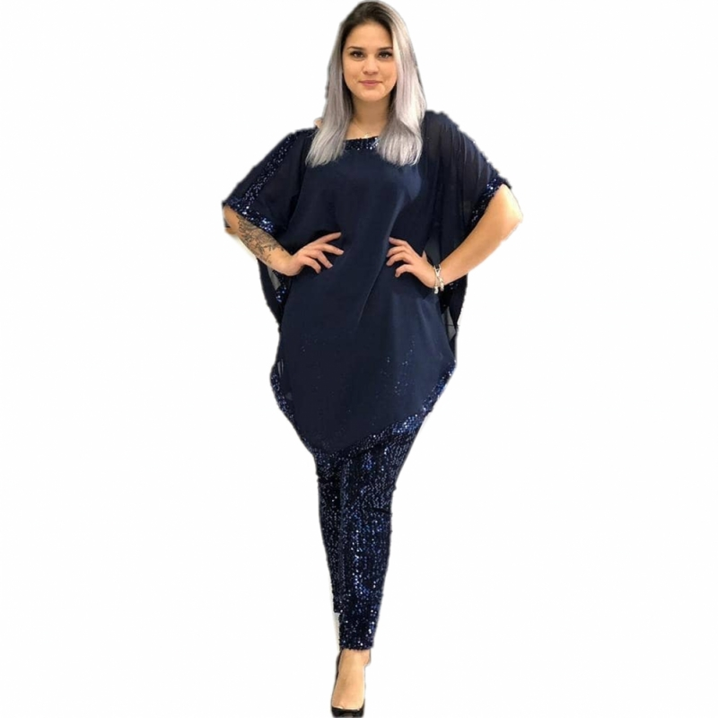 African Sets For Women 2020 Sequined African Elastic Bazin Baggy Pants Rock Style Dashiki Sleeve Famous Suit For Lady