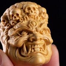 Natal Buddha Wood Skull Head Handmade Exorcism Town Car Pendant Decoration Solid Wood Key Chain God Statue